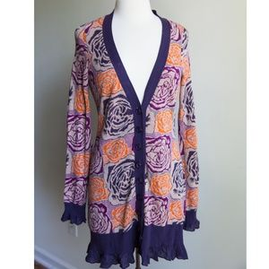 Anthropologie Sleeping on Snow Floral cardigan